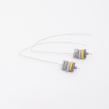 Tiny Disc Sterling Silver Wire Earrings Grey and Yellow