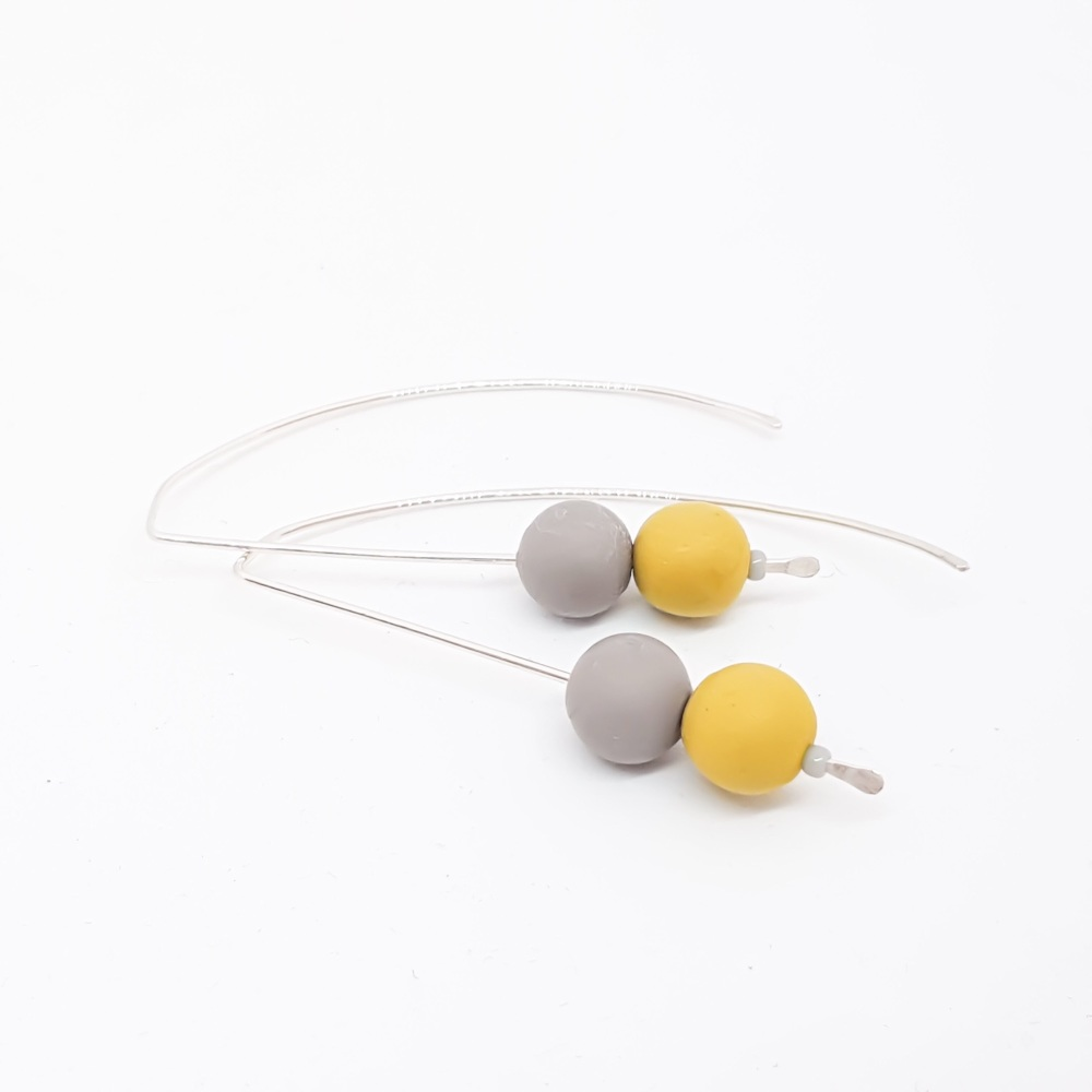 Sterling Silver Wire Earrings Grey and Mustard Beads