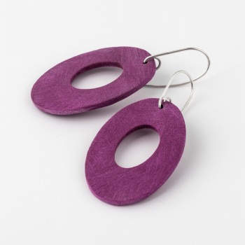 Giant Scratched Oval Earrings in Dark Berry Pink