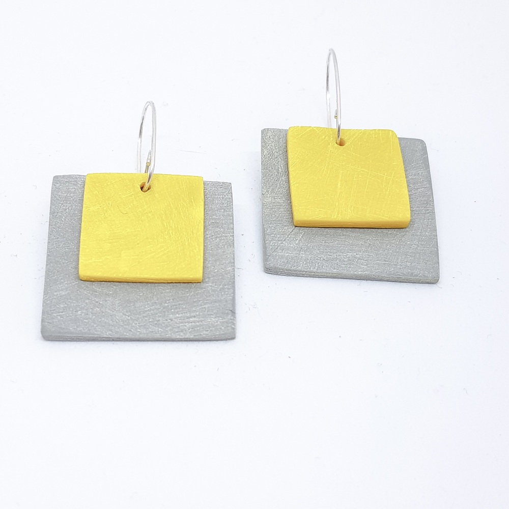 Giant Square Scratched Earrings in Grey and Yellow