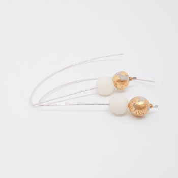 Metallics Sterling Silver Wire Earrings Transluscent White and Gold Beads