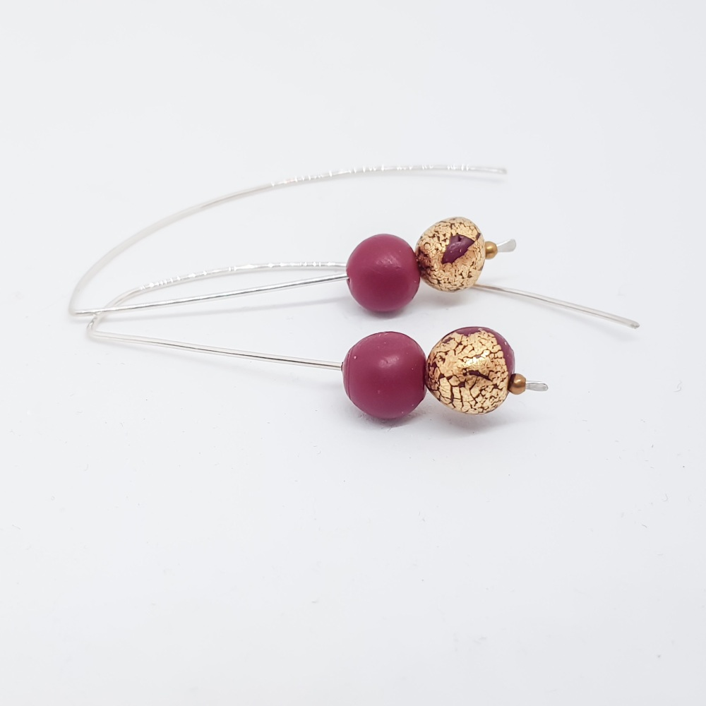 Metallics Sterling Silver Wire Earrings Dark Berry Red and Gold Beads