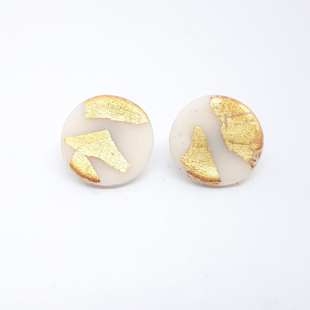 Giant Metallic Circle Studs in Transluscent White and Gold