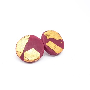 Giant Metallic Circle Studs in Berry Red and Gold