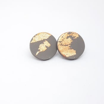 Giant Metallic Circle Studs in Grey and Copper