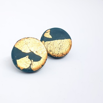 Giant Metallic Circle Studs in Dark Teal Green and Gold