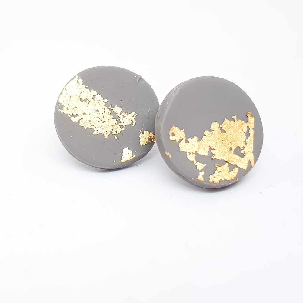 Giant Metallic Circle Studs in Grey and Gold