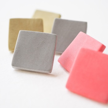 Giant Colourful Scratched Square Studs