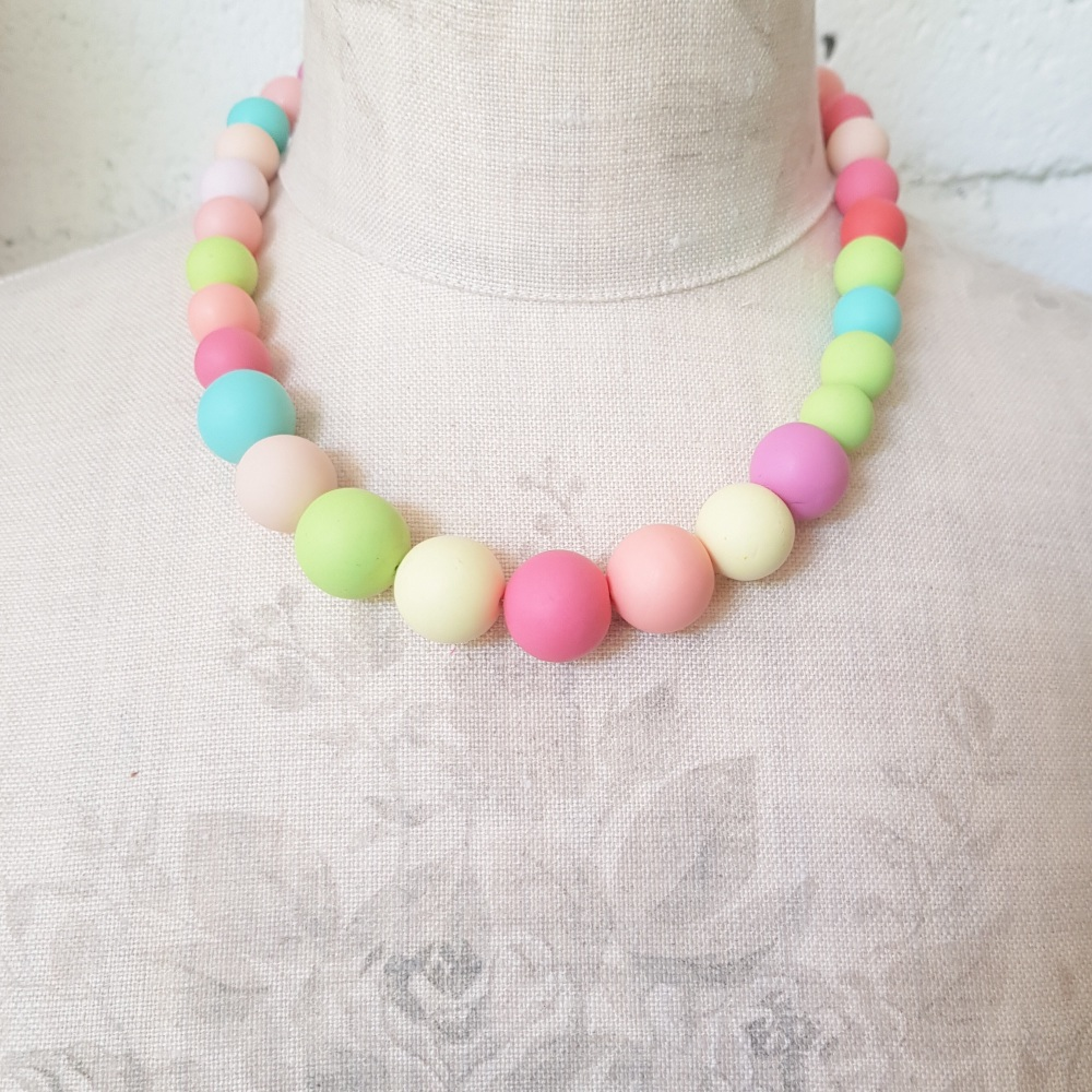 Graduated Bead Necklace in Warm Spring Colours
