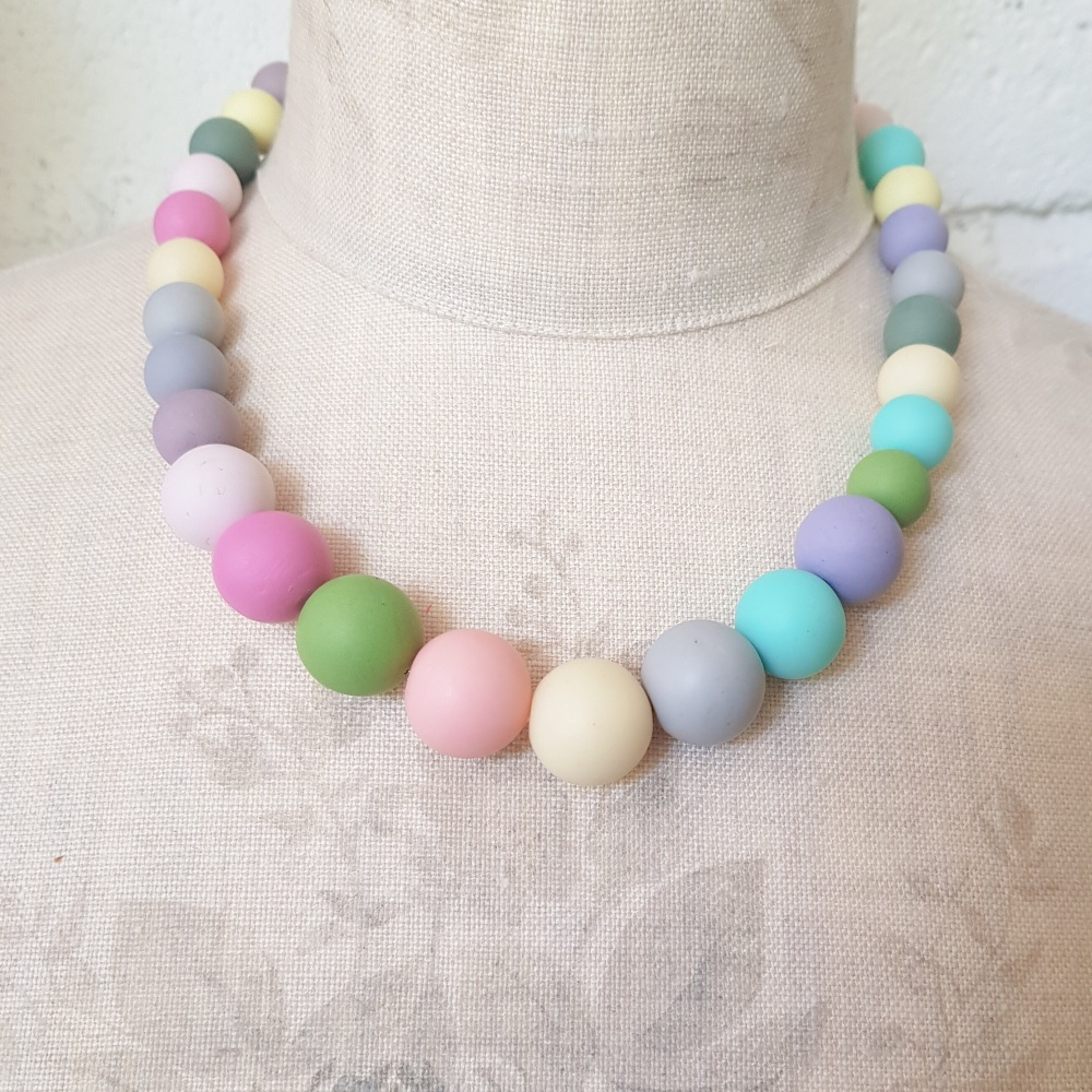 Graduated Bead Necklace in Cool  Spring Colours