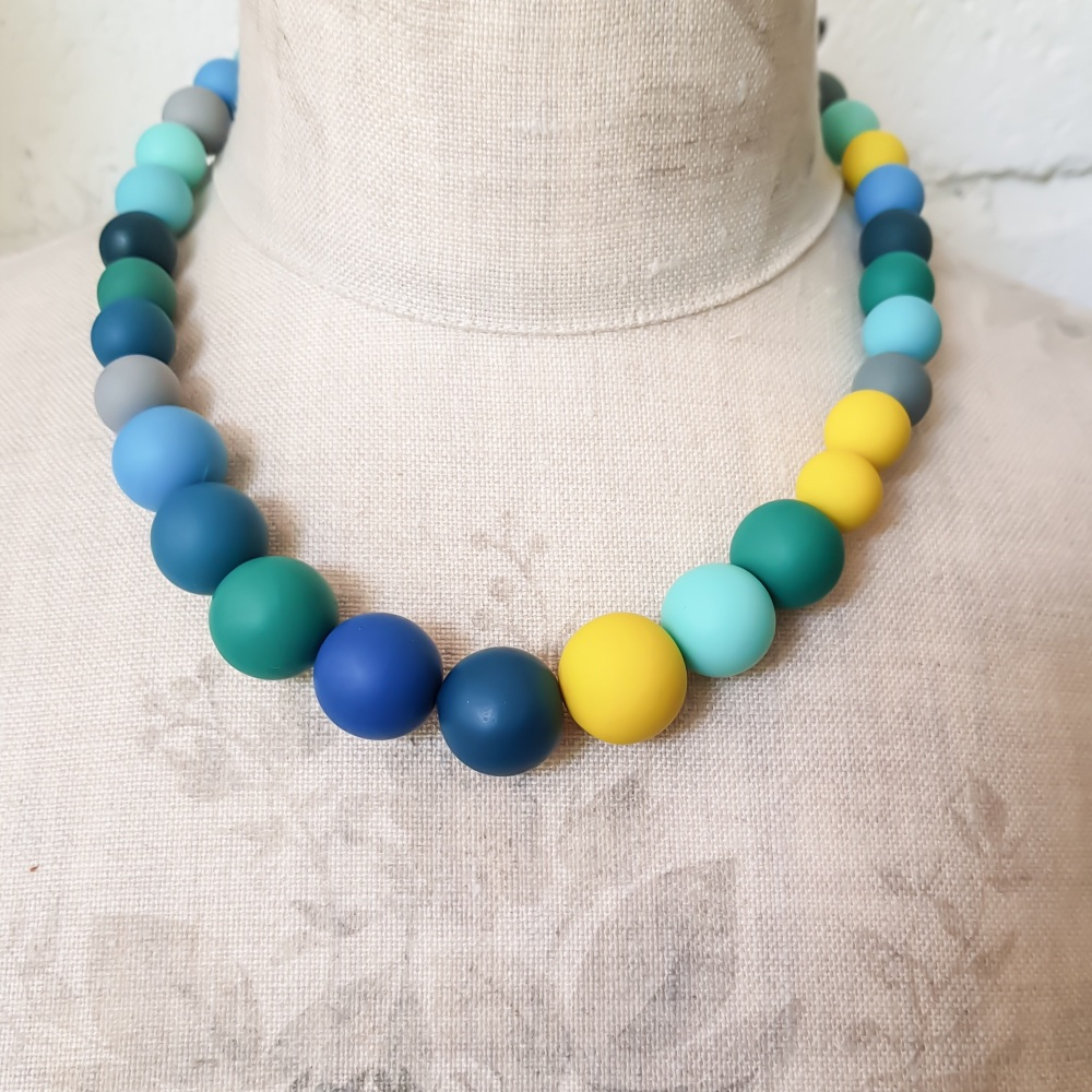 Graduated Bead Necklace in blues, yellows and greens