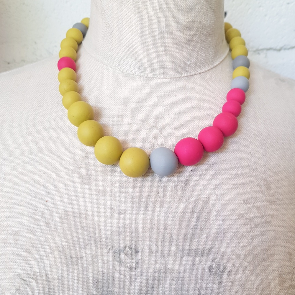 Graduated Bead Necklace in Mustard and Cerise