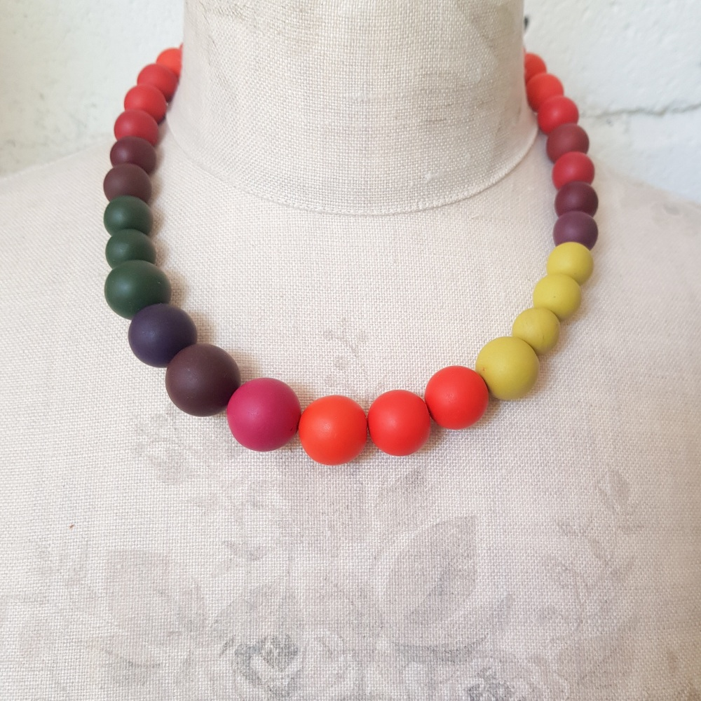 Graduated Bead Necklace in Autumn Russet Colours
