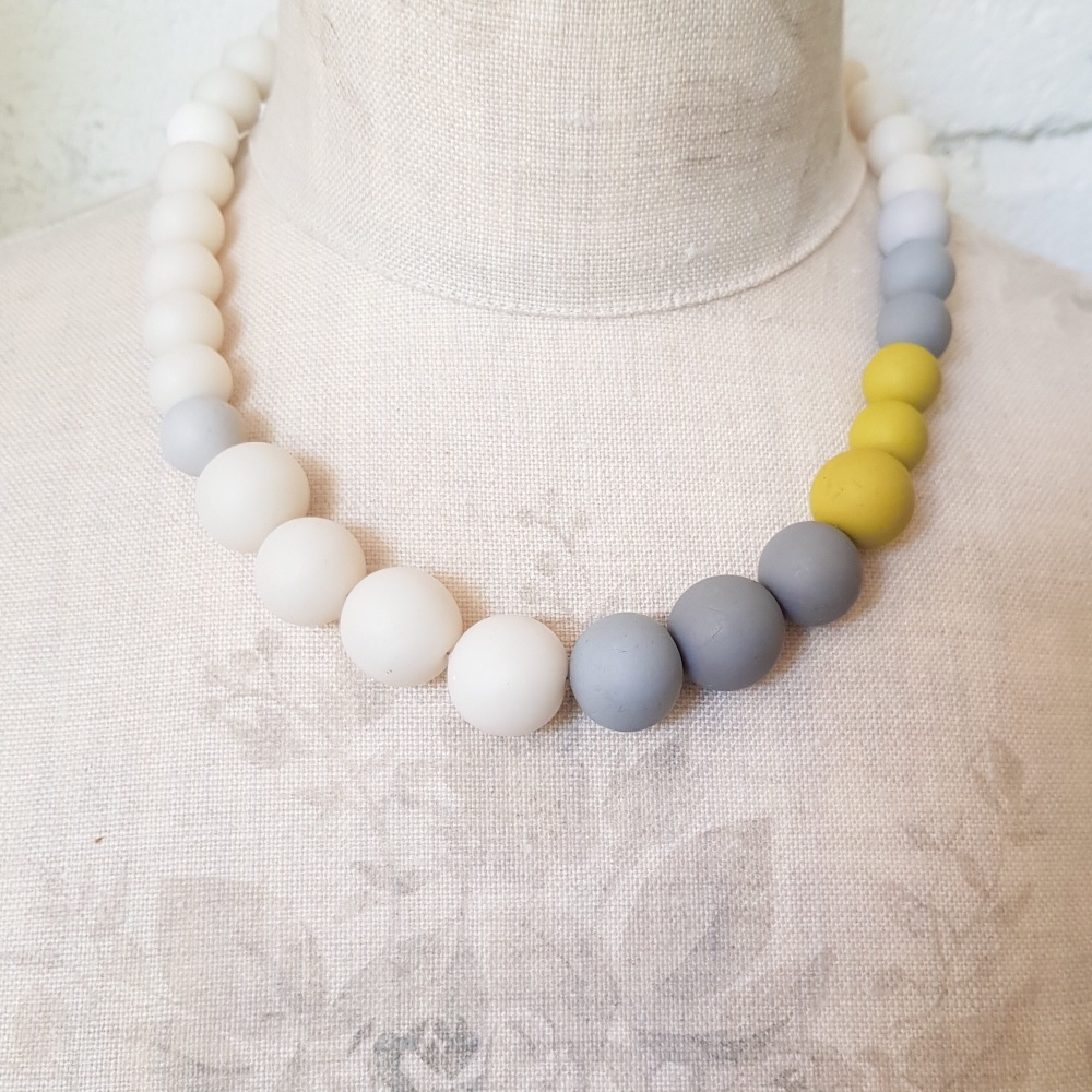 Graduated Bead Necklace in Winter Whites, Mustard and Grey