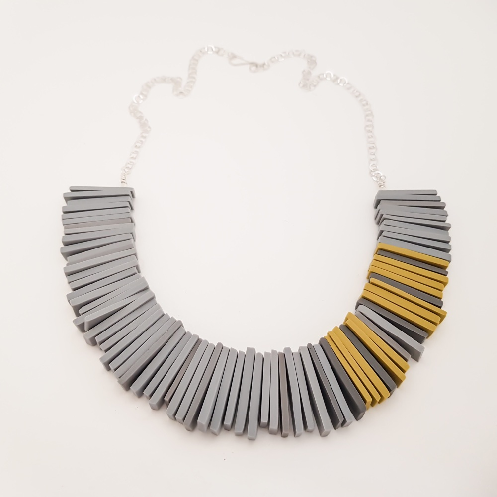 Modern Deco Necklace in Grey and Sulphur Yellow