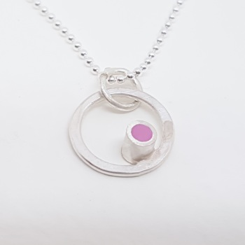Tiny Dot Circle Pendant in Choice of Colours