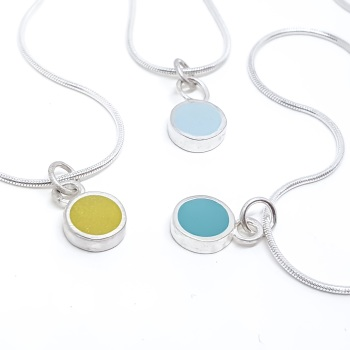 Colour Dot Circle Pendant Necklace in Choice of colours