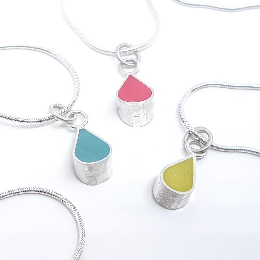 Rain Drop Pendant Necklace  in Choice of colours