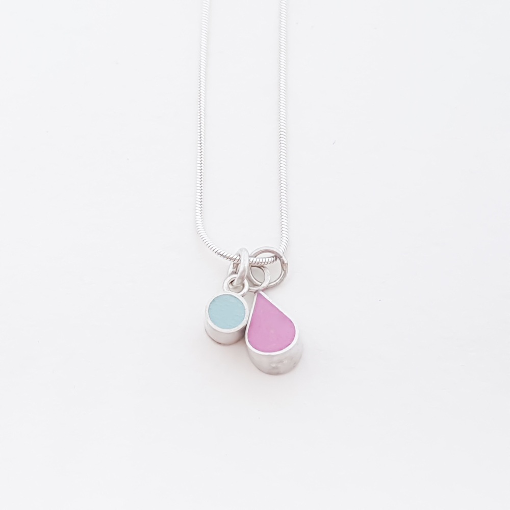 Double Colour Drop Interchangeable Pendant Necklace (Choice of colours)