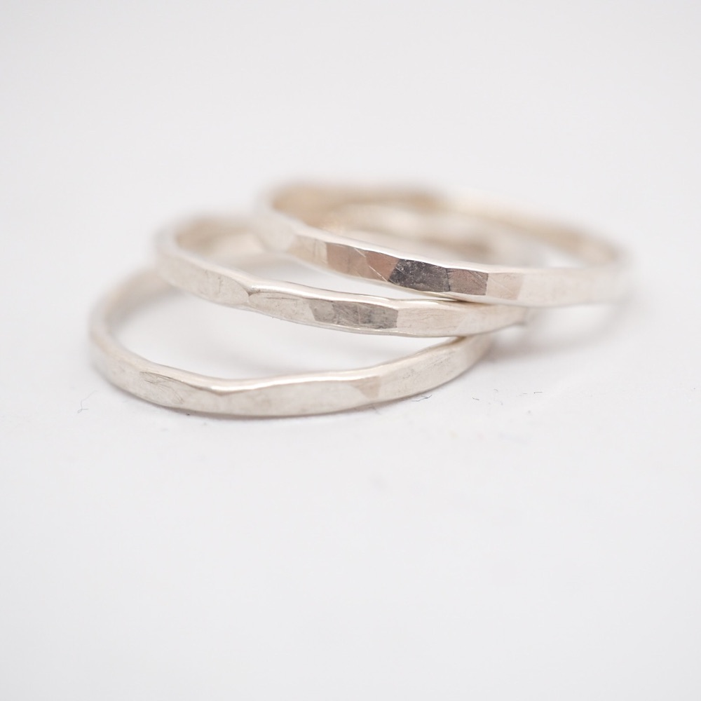 Skinny Hammered Sterling Silver Stacking Rings