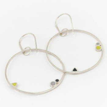 Inside Dot Dangly Hoop Earrings (various colour choices)