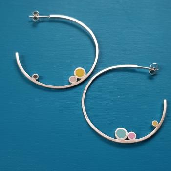 Inside Dot Large Hoop Stud Earrings (various colour choices)