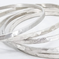 Medium Width Hammered Sterling Silver Bangle