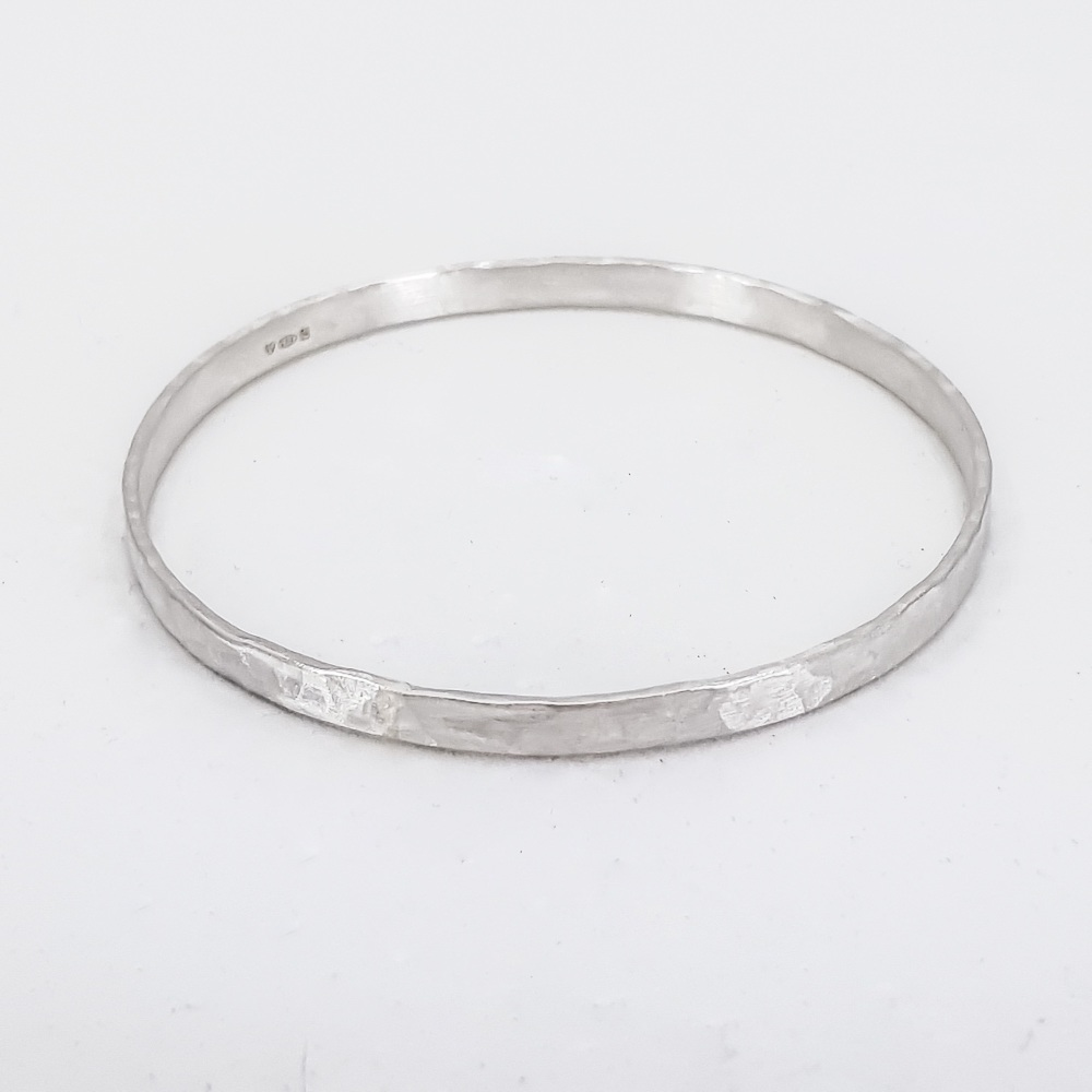 Wide Width Hammered Sterling Silver Bangle
