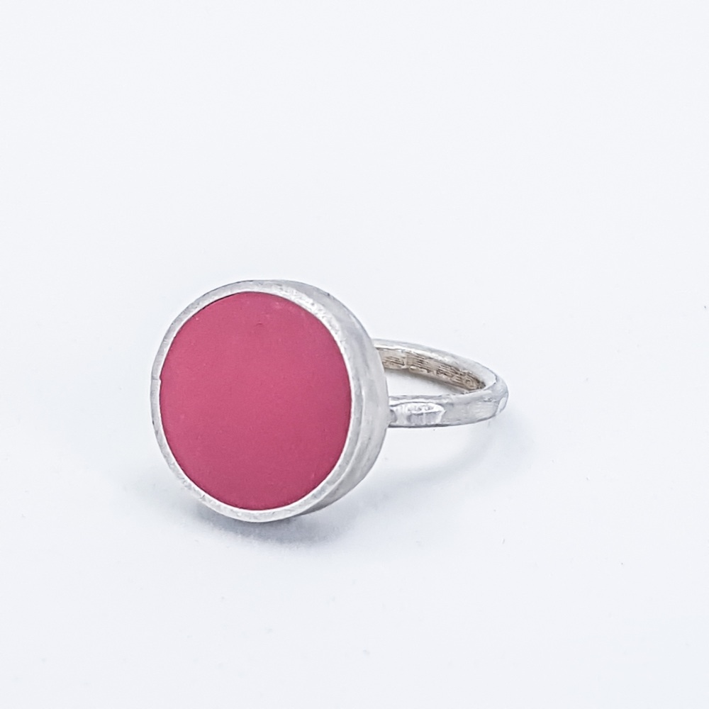 Large Soft Red Colour Dot Ring Size O