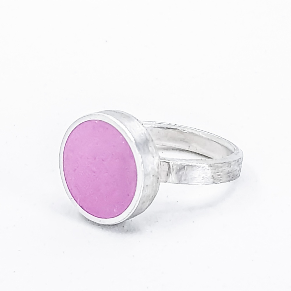 Large Rapsberry Pink Colour Dot Ring Size O
