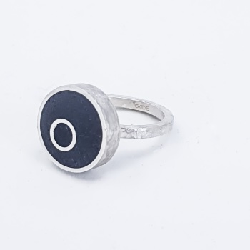 Large Soft Black Inside Dot  Ring Size N
