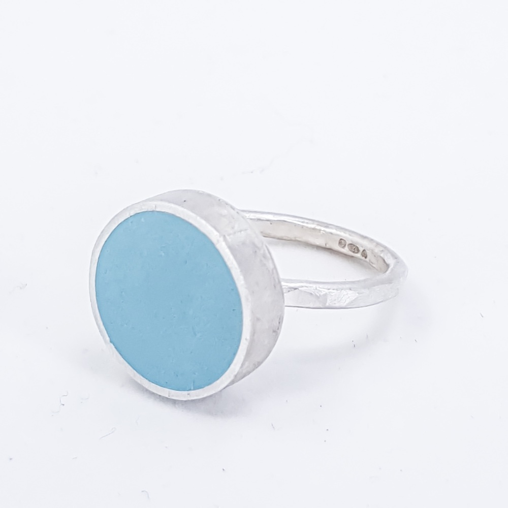 Large Turquoise Colour Dot Ring Size R