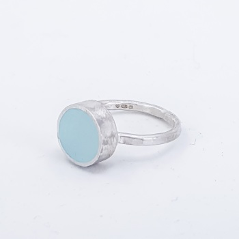 Medium Aqua Colour Dot Ring Size P