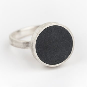 Large Dark Grey Colour Dot Ring Size T
