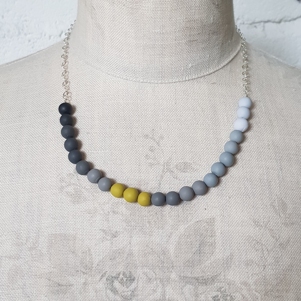 Beaded Sterling Silver Chain Necklace in Shades of Grey and Mustard