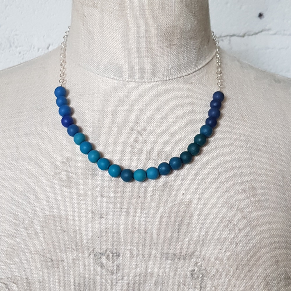 Beaded Sterling Silver Chain Necklace in Turqouise and Teal