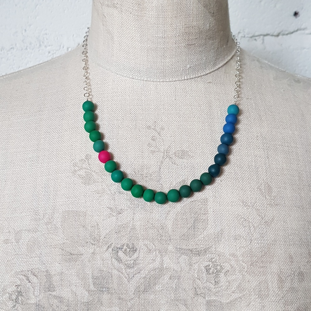 Beaded Sterling Silver Chain Necklace in Green, Blue and Cerise
