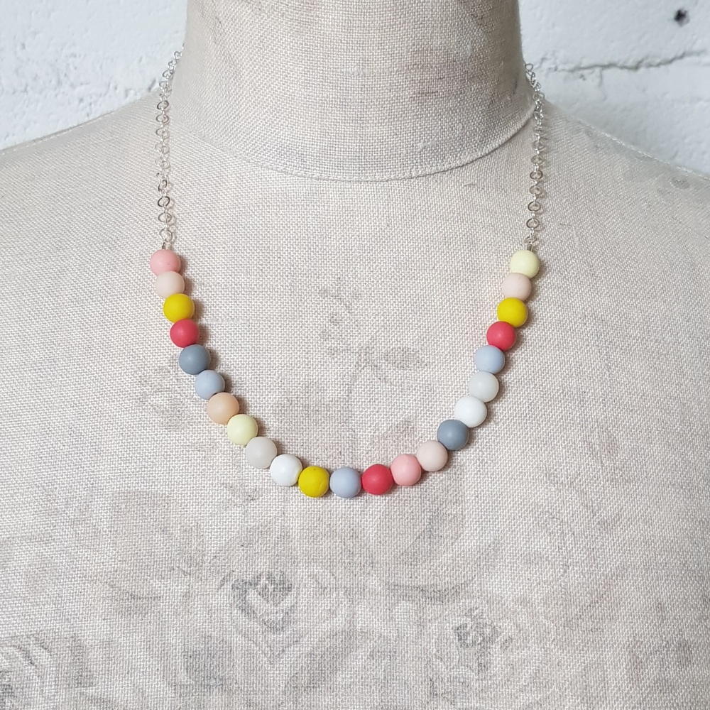 Beaded Sterling Silver Chain Necklace in Grey, Coral and Yellow