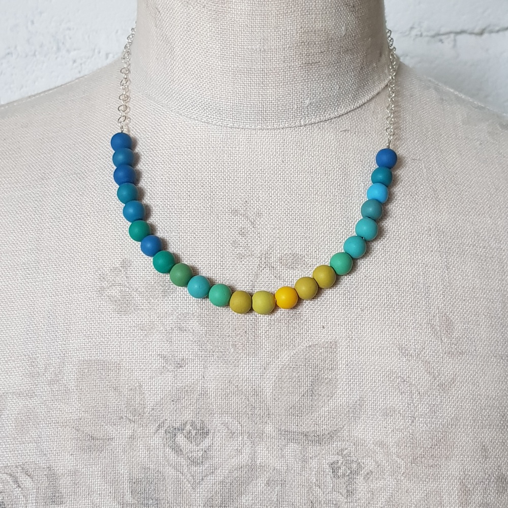 Beaded Sterling Silver Chain Necklace in Shades of Teal Blue and Mustard