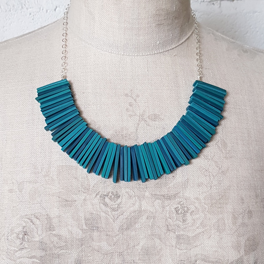 Modern Deco Necklace in Teal Blues and Green