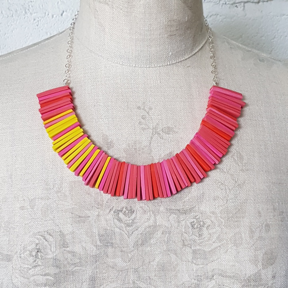 Modern Deco Necklace in Brightest Pinks and Yellow