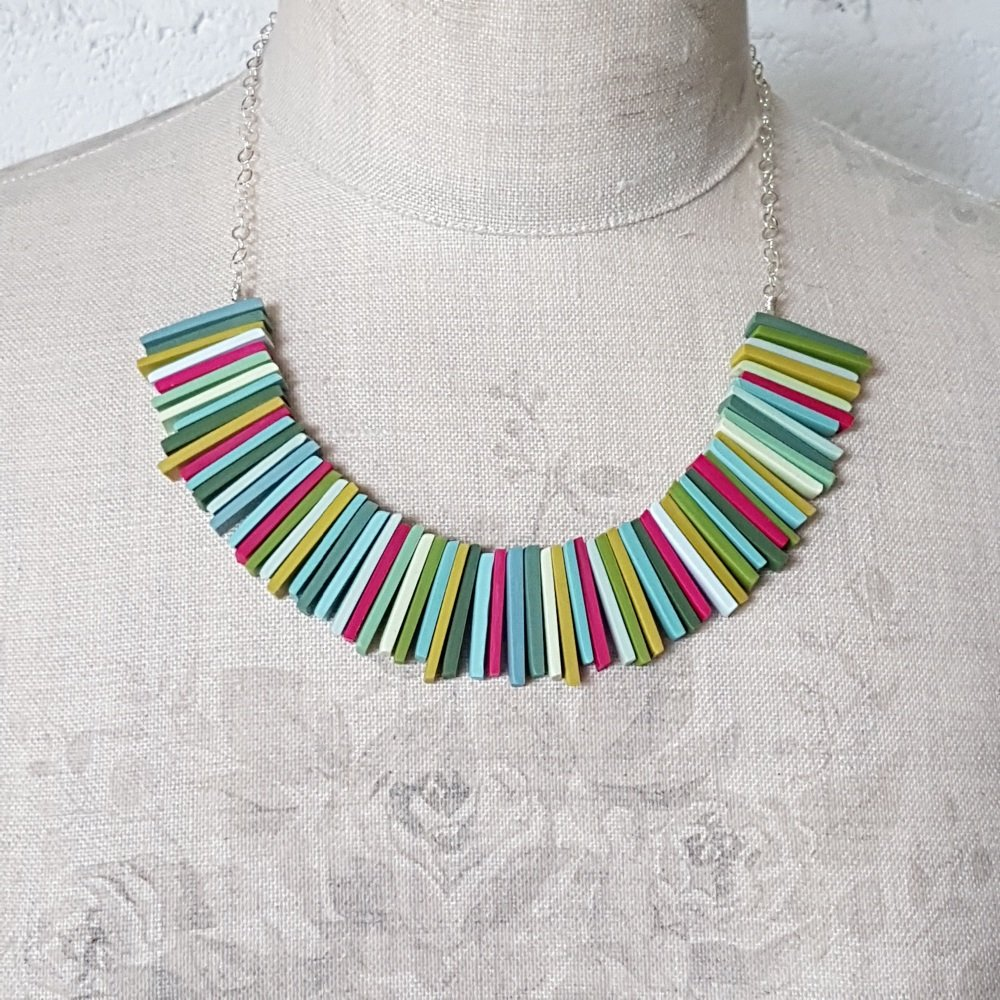 Modern Deco Necklace in Mustard, Greens and Cerise