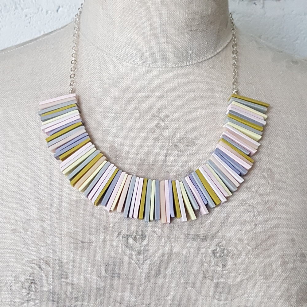 Modern Deco Necklace in Mustard, Palest Pink and Grey