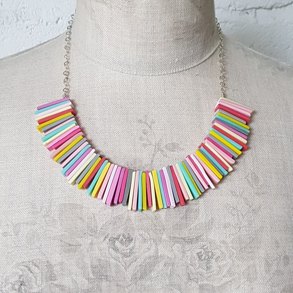 Modern Deco Necklace in Pastel Colours