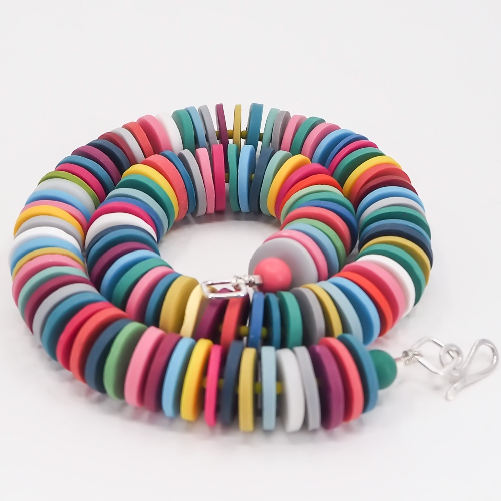Large Disc Bead Necklace in Bright Multi Colours