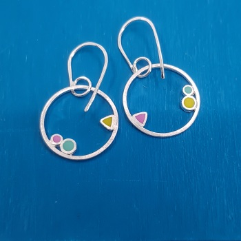 Inside Dot Little Dangly Hoop Earrings (various colour choices)