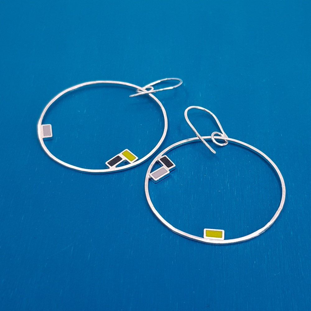 Inside Dot Big Dangly Hoop Earrings (various colour choices)