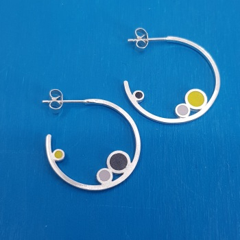 Inside Dot Small Hoop Stud Earrings (various colour choices)