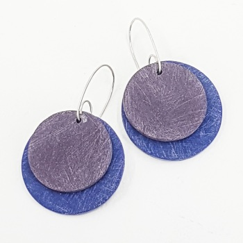 Giant Circles Scratched Earrings in Cobalt and Indigo