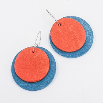 Giant Circles Scratched Earrings in Mid Century Blue and Orange